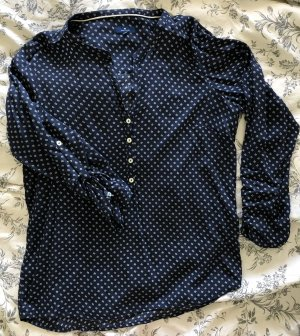 Tom Tailor Blusa de manga larga azul oscuro-blanco
