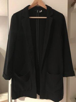 H&M Lange blazer zwart Gemengd weefsel