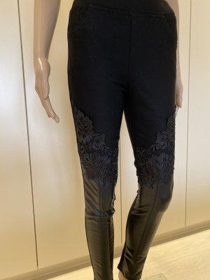 Legging schwarz mit spitze und Kunstleder gr 36