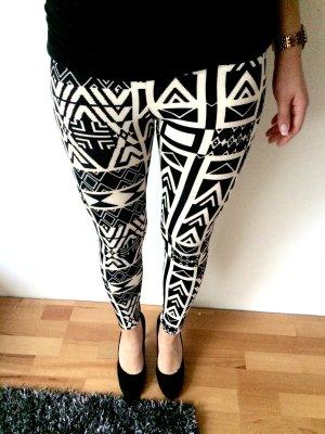 Leggings auffälliges Muster Azteken Schwarz weiß