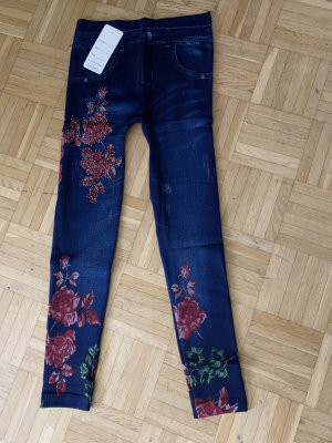 Leggings/Jeggings - JeansLook - Washed - Blue FLOWER Blau RED rot - XS S M L HOT