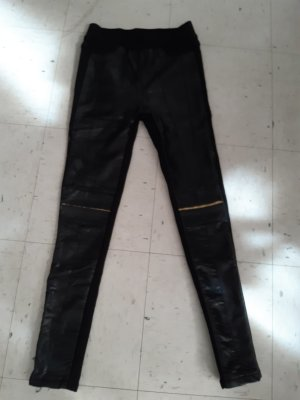 Leather Trousers black-gold-colored