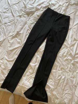 Leggings Schlitz schwarz Schlag gerippt 90s