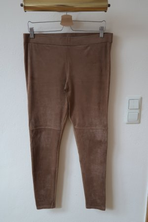 Leggings Wildleder Velours Look Beige Gr. L
