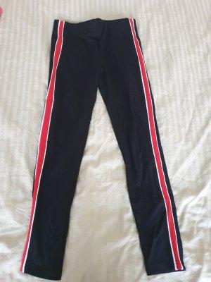Legging noir-rouge fluo polyester