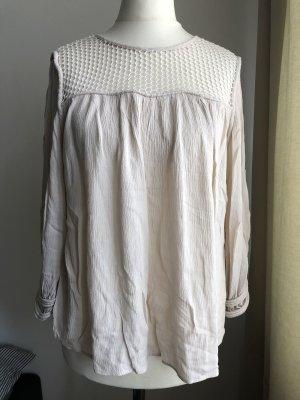 Leiche Bluse mit Netzdetail | Beige