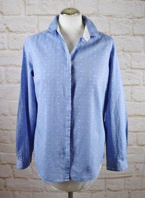 Leicht Jeans Hemd Bluse s.Oliver Größe M 40 Hellblau Weiß Pastell Rosa Grün Punkte Dots Jeanshemd Klassisch