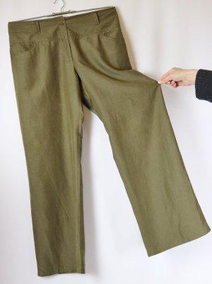 Leicht Straight Stoffhose Hose Carlo Colucci Woman Größe 42 44 L High Waist Seide Leinen Grün Khaki Moos Gerade Schnitt Sommerhose