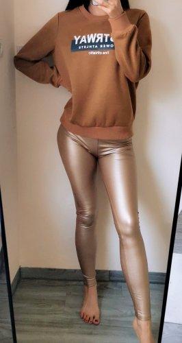 Leicht Thermo Hose Legging Disco Metallic Leder Optik