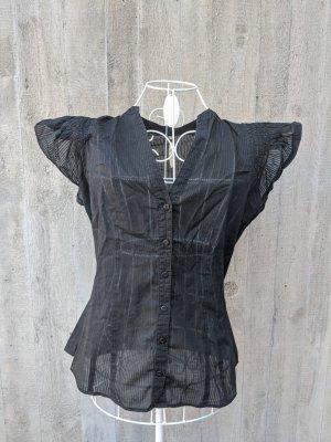 Leicht transparente Bluse mit süßen Volant Ärmeln