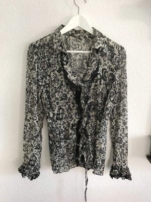 C&A Bluzka z falbankami biały-czarny