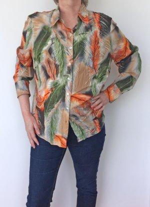 leichte Bluse in orange-grün von Basler, Größe 48