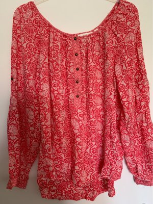 H&M Oversized Blouse natural white-bright red