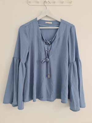 Carla G. Ruffled Blouse pale blue