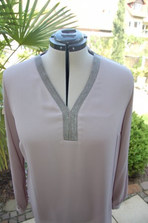 Slip-over Blouse light grey-silver-colored polyester