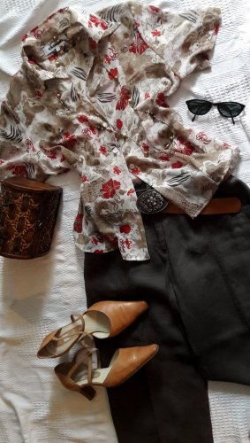 Cassani Bluzka z krótkim rękawem Wielokolorowy Tkanina z mieszanych włókien