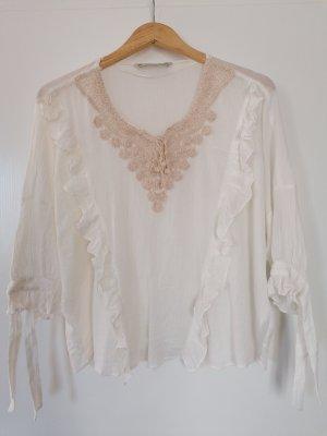 Zara Camicetta con arricciature bianco sporco-beige
