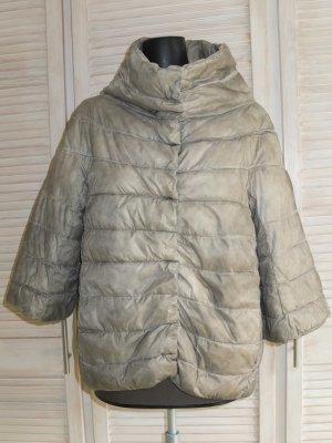 Pikowana kurtka szaro-brązowy Poliester