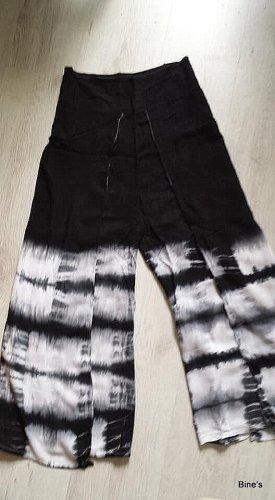 Aus Indien Pantalón estilo Harem negro-blanco puro Algodón
