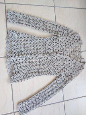 Crochet Cardigan silver-colored