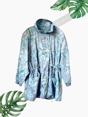 Leichte Jacke mit Details grau blau nude Töne oversize Blumen flowers Pastell   vintage   40