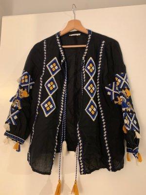 Leichte Jacke von Mango mit gelb/weiss/blauem Muster