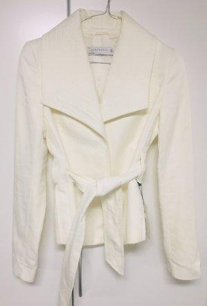 Zara Marynarka koszulowa w kolorze białej wełny