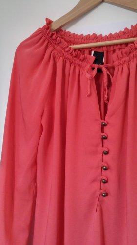 Leichte Langarm-Bluse mit gerafftem Kragen/Ärmeln