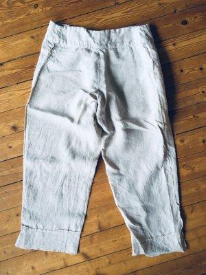 Pantalon en lin beige clair-crème lin
