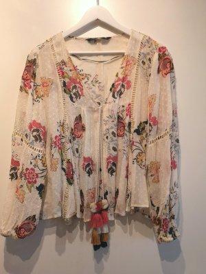 Leichte, offene Bluse im Boho Hippie Stil von ZARA mit floraler Stickerei, Gr. M
