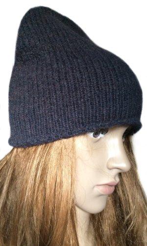 Leichte Schurwoll-Mütze (Beanie) dunkelblau