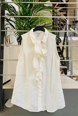 H&M Blouse à volants blanc-blanc cassé soie