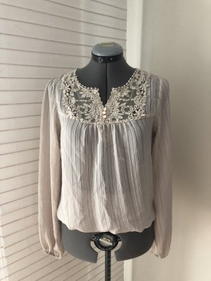 leichte semi-transparente Bluse mit Spitze, beige, creme, S, vero moda