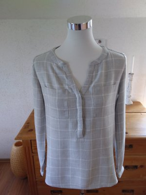 Street One Blouse à enfiler gris clair-blanc viscose