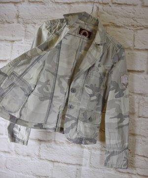 Leichte Sommer Jacke Blazer Sublevel Größe S 36 Grau Beige Creme Camouflage Militäry