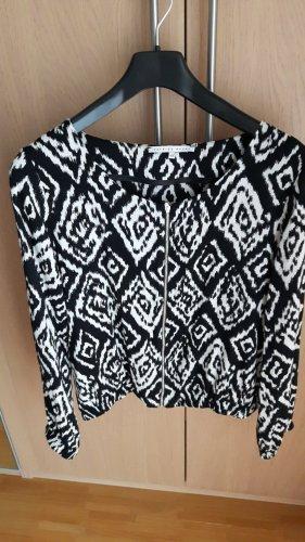 Veste chemisier blanc-noir polyester