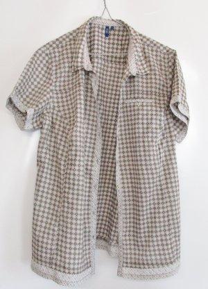 Leichte Sommerbluse Cecil Größe XL 44 Rauten Khaki Taupe Beige Muster Print Kurzarm Bluse Oversize