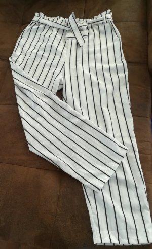 Pantalon taille haute blanc-noir