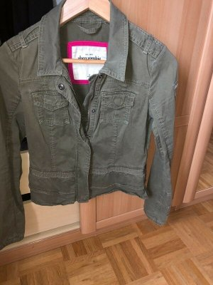 Abercrombie & Fitch Short Jacket olive green-green grey cotton
