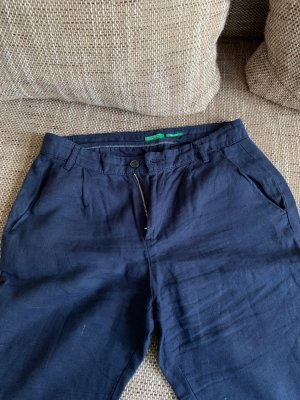United Colors of Benetton Pantalón de lino azul oscuro Lino