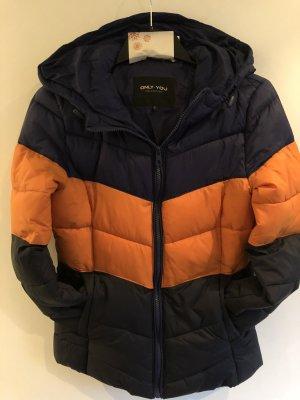 Only Gewatteerd jack oranje-donkerblauw