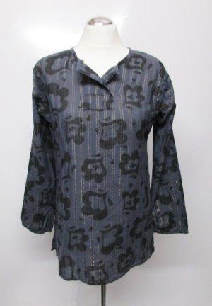 Leichte Tunika Bluse Gurdrun Sjöden Größe S 36 Grau Schwarz  Goldfarben Blumen Ranken Muster Hemdbluse Streifen Baumwolle