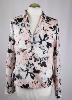 Leichte Tunikabluse Tunika Bluse Street One Größe S 36 Rosa Rose Weiß Schwarz Blumen Perlmutt Viskose Polo Hemd Shirt