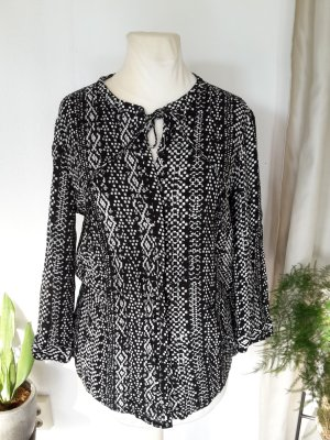 Flame Blusa de túnica blanco-negro Viscosa