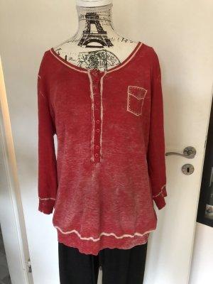 Orwell Fine Knit Jumper oatmeal-red cotton