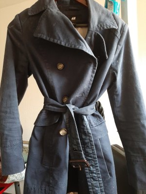H&M Heavy Pea Coat blue-dark blue