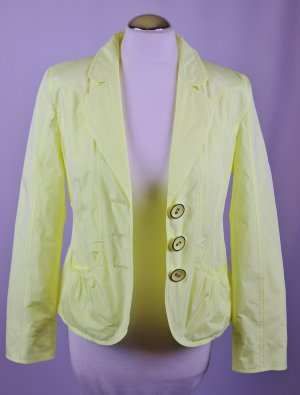 Leichter Blazer Jacke Taifun Größe S 36 Zart Gelb Zitrone Neon Pastell Ballonseide Retro Übergangsjacke