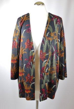 Leichter Cardigan Jacke Cape Gina Größe 46 XXL 3/4 Kurzarm Orchidee Blumen Muster Anthrazit Grau Bunt Tropic Überwurf