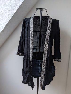 Dorothy Perkins Bluzka kimono czarny-biały Wiskoza