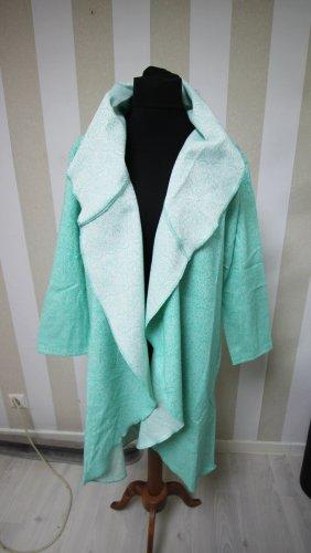 Manteau long vert menthe-blanc